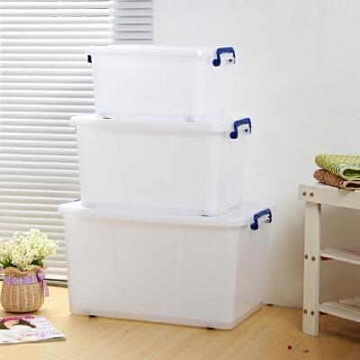 家居生活用品加厚白色塑料储物箱大号有盖滑轮整理箱收纳盒衣物衣服塑料箱 白色