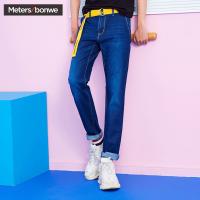美特斯邦威牛仔裤男装2018夏季新款斜插袋韩版修身直筒牛仔长裤9