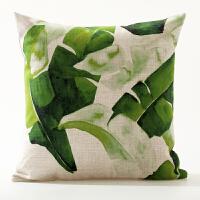 水彩色植物北欧ins美式棉麻抱枕套腰枕清凉汽车靠垫办公沙发靠枕 +枕芯