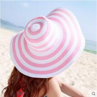 大檐帽草帽户外防晒条纹大沿帽折叠遮阳帽子草帽 女韩版海边沙滩帽