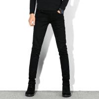 秋冬加绒士牛仔裤黑色修身弹力小脚裤紧身韩版潮流休闲保暖长裤