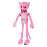 新款卡通长腿公仔带蝴蝶结小猫毛绒玩具抱枕儿童礼物 粉红