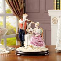 高档欧式陶瓷人物摆件客厅婚房情侣拉小琴家居饰品摆设结婚庆礼物