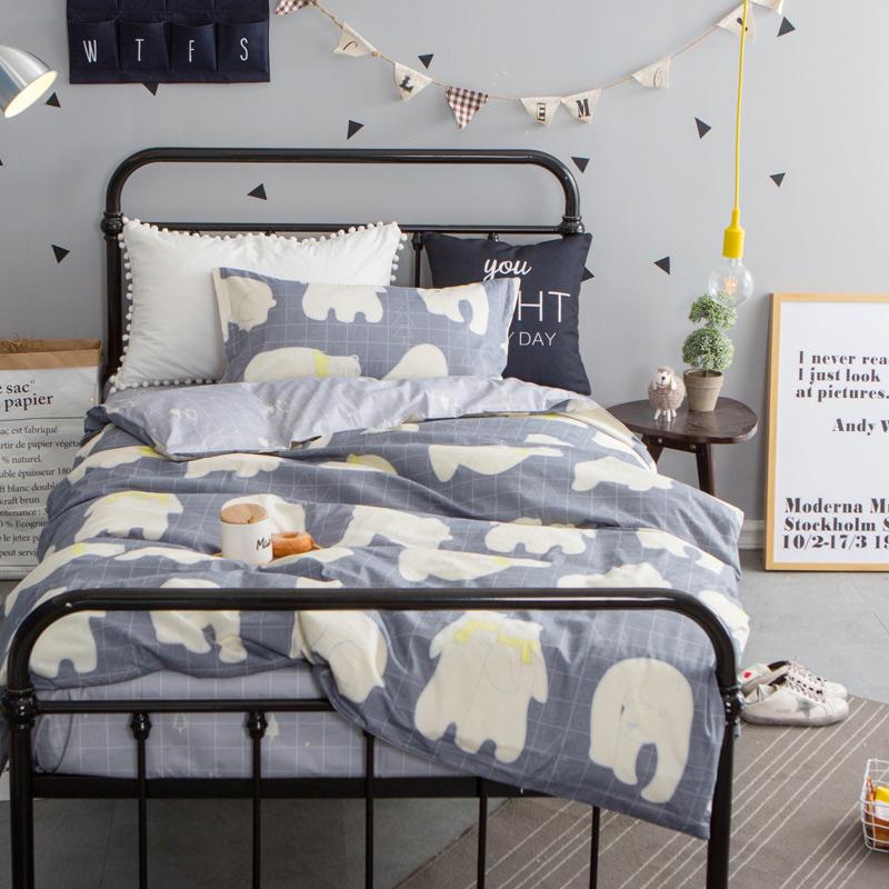 ???大学0.9m三件套被褥套装男生纯棉 单人床单被套宿舍床上用品1.2米 高密棉 苏醒的小熊