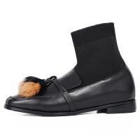 袜靴女平底针织短2018新款冬季低粗跟短及踝靴子女针织平底显瘦瘦袜靴 TBP