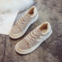 冬新款棉鞋女韩版学生百搭防滑雪地靴复古二棉鞋加绒厚底面包鞋子 米色 加绒款
