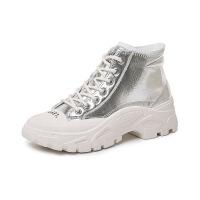 马丁靴 女士纯色圆头低筒马丁寻2020秋冬新款女式厚底防滑透气网红短靴