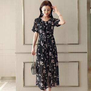 风轩衣度 连衣裙V领高腰套头单件2018年夏季短袖长裙都市舒适修身 2278-1876