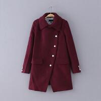 524 女装 冬季新款纯色翻领排扣长袖女式休闲外套毛呢大衣