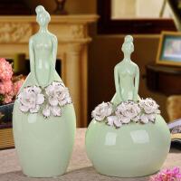 欧式创意描金玫瑰芭蕾女陶瓷工艺品摆件简约家居装饰品摆设结婚礼物