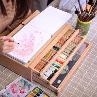 中盛画材 榉木抽屉木质画架画盒 素描彩铅收纳盒桌面油画箱画画支架式素描画板画架套装写生画板美术艺考工具