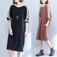 宽松大码女装拼色上衣秋季新款胖中长款显瘦棉卫衣棉长袖连衣裙