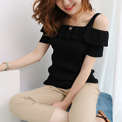 春夏季2018新款韩版露肩吊带短袖T恤女纯色宽松针织打底上衣