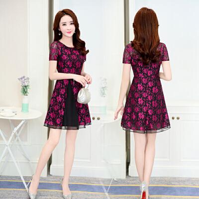 蕾丝印花连衣裙女2018夏季新款韩版修身中长款时尚短袖拼接裙子潮