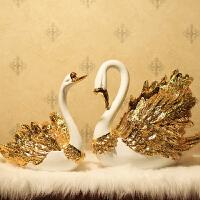 欧式家居装饰品摆件情侣天鹅工艺品创意客厅新房婚房结婚礼品