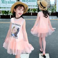 儿童裙子女童公主裙夏韩版中大童甜美网纱背心连衣裙无袖