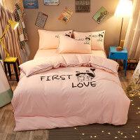 粉色四件套床单三件套女寝室学生宿舍单人被褥套装六件套床上用品