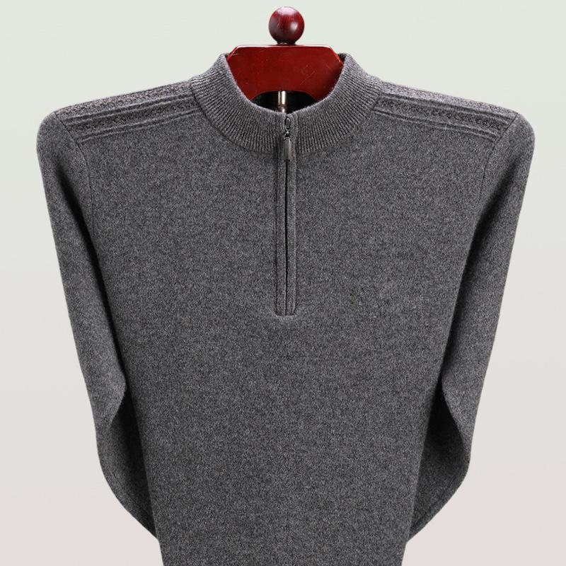 纯仿羊绒衫男加厚拉链半高领纯色圆领羊毛衫中老年爸爸装大码毛衣 发货周期:一般在付款后2-90天左右发货,具体发货时间请以与客服协商的时间为准