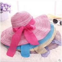 沙滩帽大沿帽 女式太阳帽草帽大檐帽遮阳帽可折叠帽子海边装备