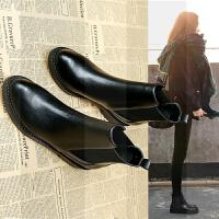 切尔西短靴女雪地棉2018新款女鞋网红韩版平底冬季ins短筒马丁靴SN1049 黑色 单里