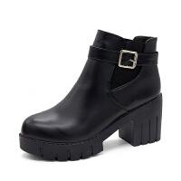 chic马丁靴女英伦风裸靴子女短靴高跟女靴冬秋单靴短筒切尔西靴女