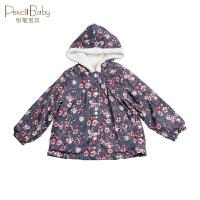 铅笔俱乐部女小童加厚外套带帽2018冬装新款宝宝保暖上衣