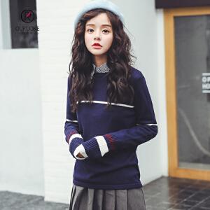 欧若珂 2018秋季新款复古撞色条纹圆领套头百搭长袖打底针织衫女