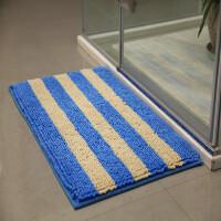 雪尼尔地垫 卧室地毯浴室门垫卫生间脚垫防滑垫子可机洗 蓝色 彩条