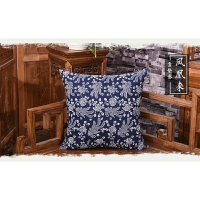蓝印花布中式抱枕套复古怀旧靠垫沙发背垫套传统民族风可拆洗靠包