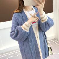 2018秋装新款韩版宽松中长款泡泡长袖拼色针织衫开衫毛衣女外
