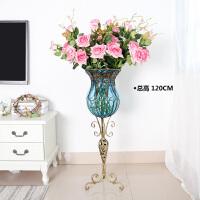 欧式客厅创意落地特大号高脚家居摆件装饰品插花水培透明玻璃花瓶
