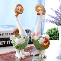 彩绘树脂鸡年酒柜摆件创意家居装饰品客厅电视柜工艺品田园情侣鸡