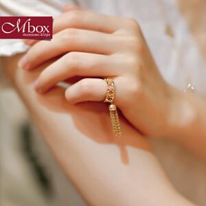 新年礼物Mbox戒指 日韩女食指尾戒时尚个性情侣镂空流苏关节戒指指环 步摇