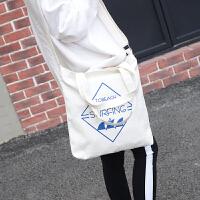 韩版帆布手提包新款复古印花文字休闲学院多功能单肩斜跨托特女包