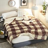 双层加厚毛毯被子法兰绒羊羔绒单人沙盖毯办公室午睡珊瑚绒毯子定制! 豆沙大格 双层毯OB