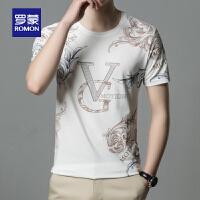 【618狂欢1折起】罗蒙短袖t恤男时尚印花圆领2021夏季新品青年休闲薄款上衣T恤衫