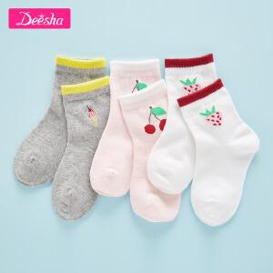【3折价:23】笛莎童装女童袜子2019春季新款水果儿童短袜组合套装儿童袜三双装