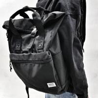 新款原创街头双肩包男潮牌日本原宿防水学生书包韩版电脑旅行背包 黑色 现货