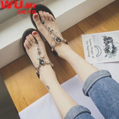 乌龟先森 凉鞋 女士韩版百搭水钻夹脚平底鞋女式夏季新款平跟学生波西米亚凉鞋子支持礼品卡,