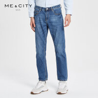 【1件2.5折到手价:117.3】MECITY男装春季新款蓝色水洗纯棉磨白直筒牛仔长裤韩版