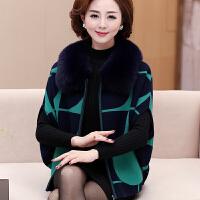 中年妈妈装秋冬装短款外套貂绒大衣大码毛衣女狐狸毛领中老年女装
