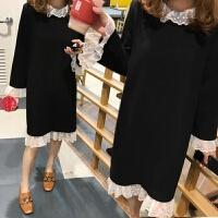 大码女装2018秋冬新款微胖妹妹中长款蕾丝打底裙200斤胖MM连衣裙 黑色