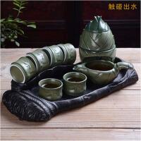 复古懒人紫砂泡茶器礼品茶具茶壶杯 半全自动茶具套装陶瓷创意石磨