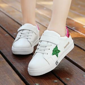 童鞋女童板鞋2018新款公主鞋韩版女孩运动休闲鞋学生防滑小白鞋潮