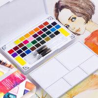 柏伦斯固体水彩颜料初学者手绘24色12色18色36色套装透明水彩画颜料分装便携水粉颜料固体画笔本套装组合