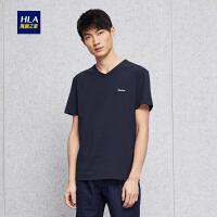 HLA/海澜之家微弹纯色V领短袖T恤2018夏季新品舒适T恤男