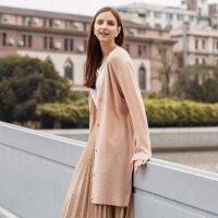【1件2.5折到手价:168.8】羊毛MECITY女装新款V领薄针织慵懒风开衫中长款黑色毛衣