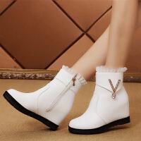 冬季新款韩版内增高短靴女春秋单靴水钻圆头加绒雪地靴中筒靴女靴
