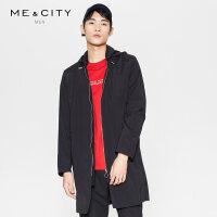 【2件1.5折价:133.4,可叠券】MECITY男装春季时尚黑色可拆卸连帽风衣外套男潮流