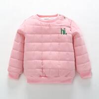 男童女童秋冬装加绒加厚夹棉婴儿童卫衣宝宝保暖上衣套头冬季棉袄 粉红色 (hi款)